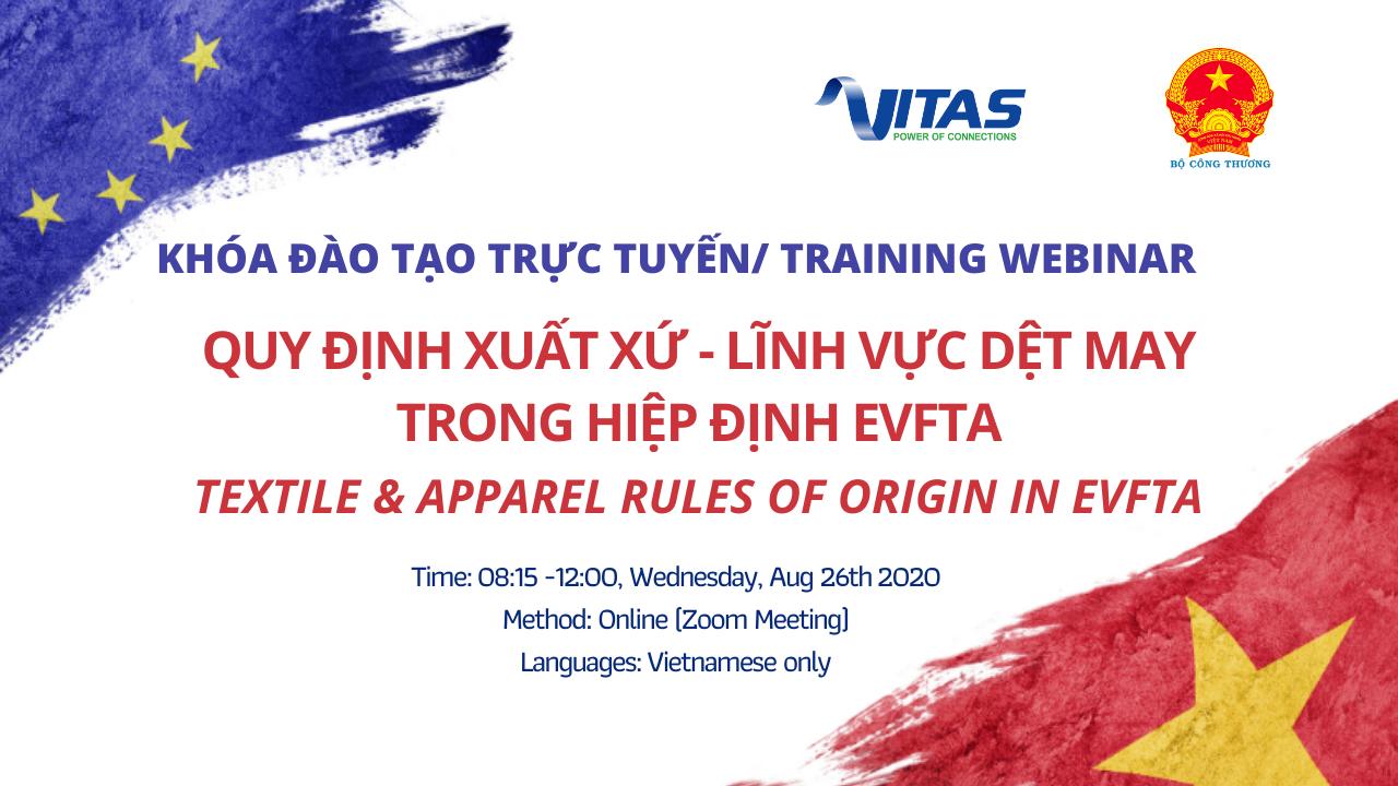 """Khóa đào tạo trực tuyến: """"Quy định xuất xứ trong Hiệp định EVFTA"""""""