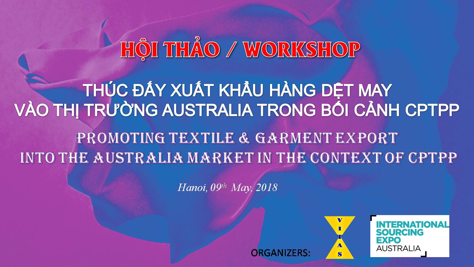 """Mời dự hội thảo """"Thúc đẩy XK hàng dệt may vào thị trường Australia trong bối cảnh CPTPP"""""""