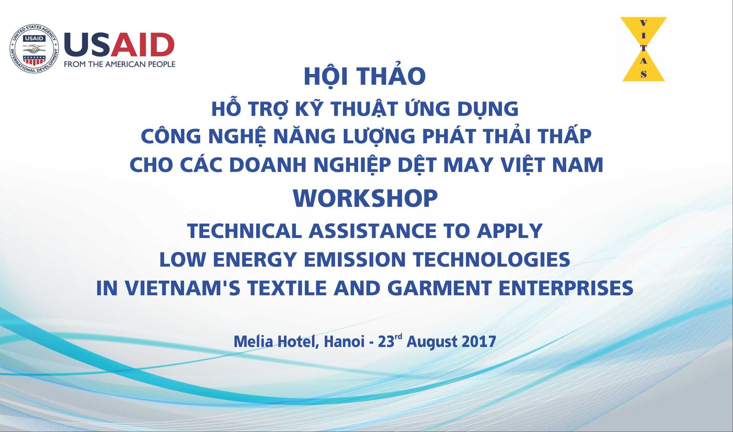 """Mời tham dự Hội thảo """"Hỗ trợ kỹ thuật ứng dụng công nghệ năng lượng phát thải thấp cho các doanh nghiệp dệt may Việt Nam"""""""