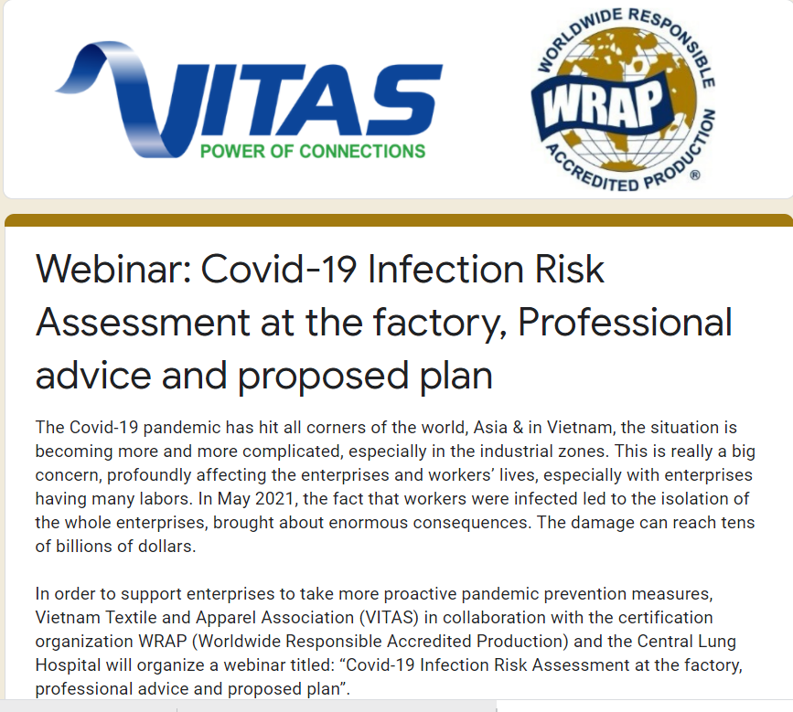 WEBINAR: Covid-19 Infection Risk Assessment at the factory, Professional advice and proposed plan