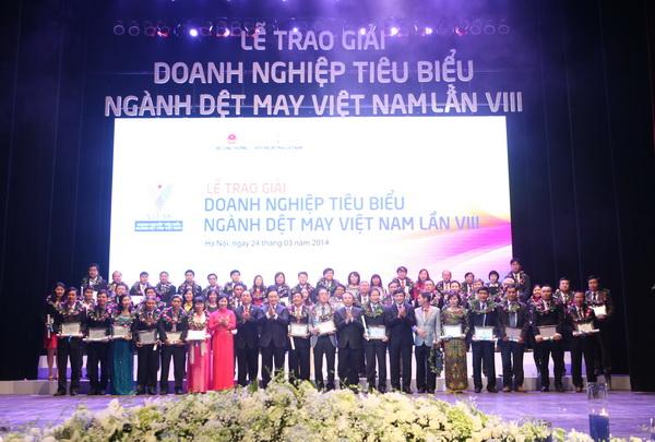 Lễ trao giải Doanh nghiệp Dệt May tiêu biểu lần thứ 8, tháng 3/2014