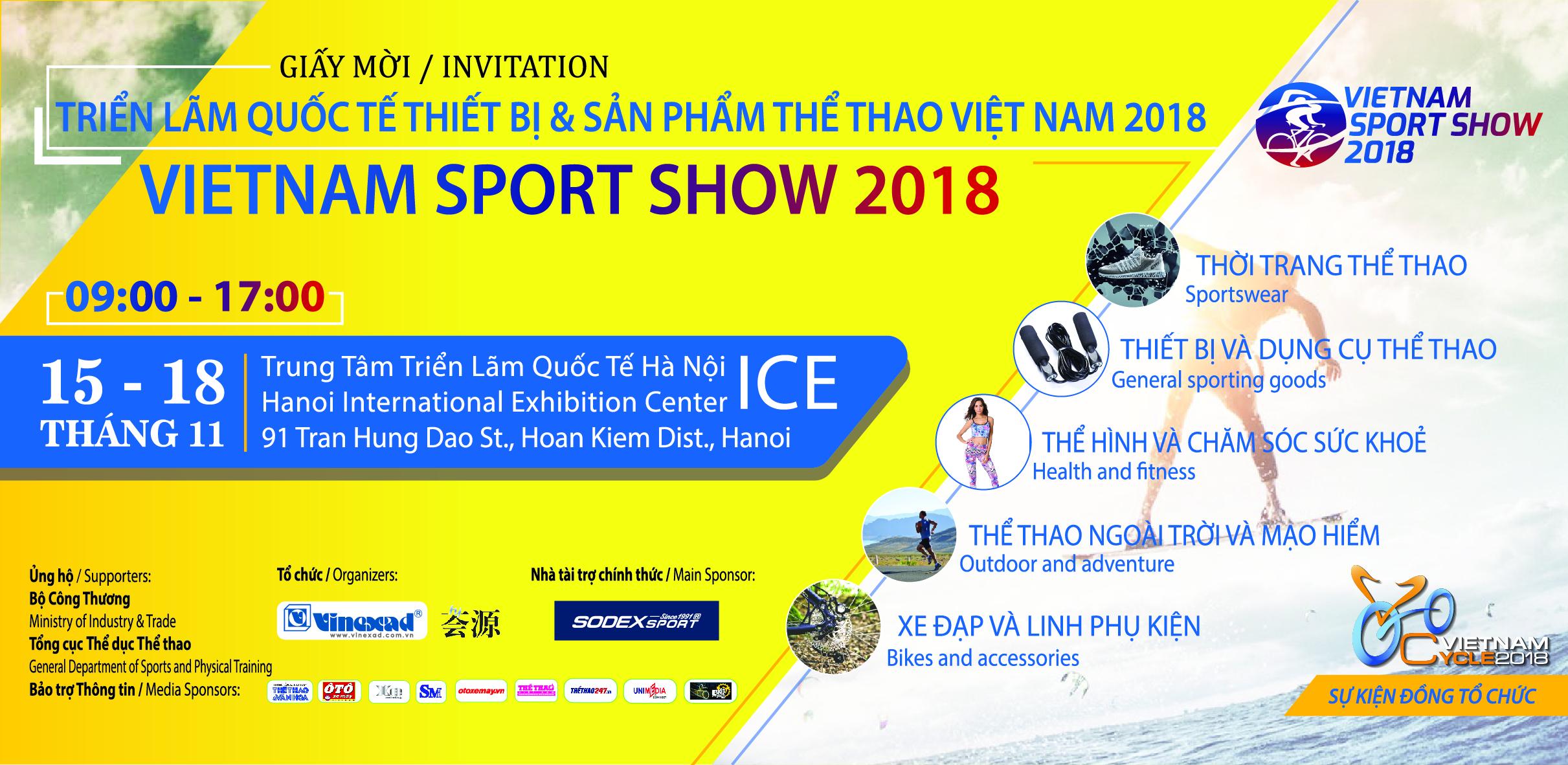 Thư mời: Triển lãm Quốc tế thiết bị và sản phẩm thể thao 2018 – VIETNAM SPORT SHOW 2018