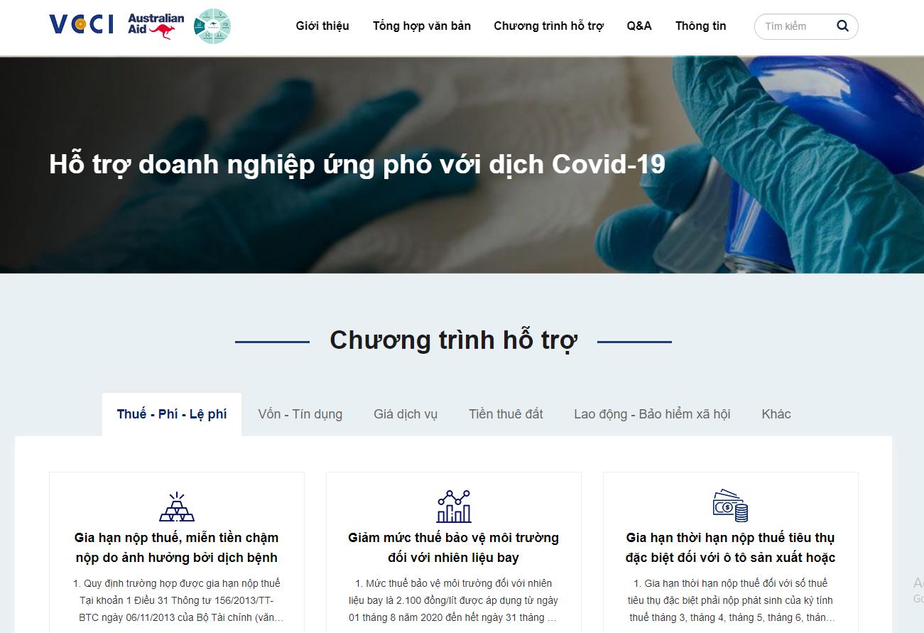 VCCI giới thiệu website Hỗ trợ doanh nghiệp ứng phó với dịch Covid-19