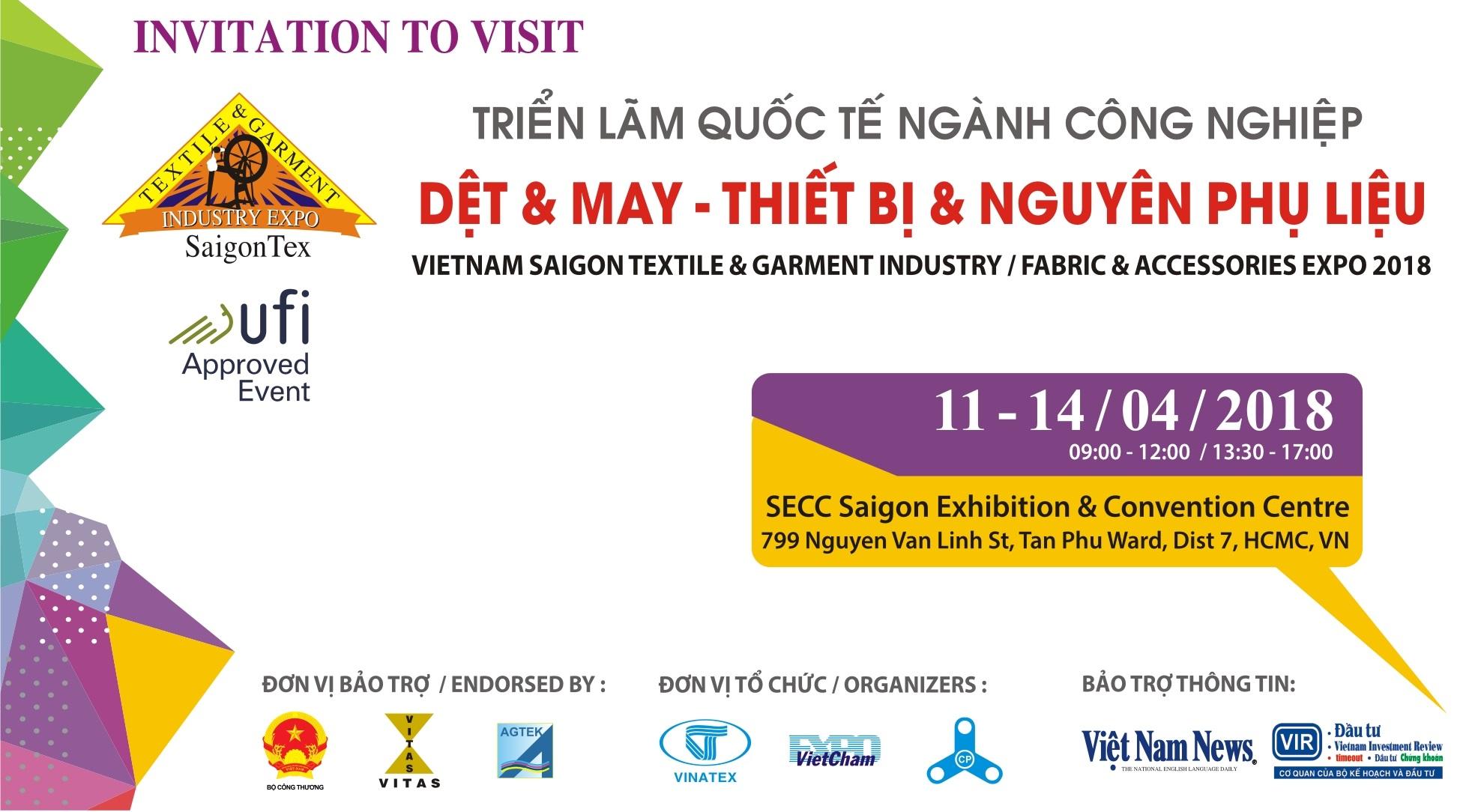 Mời dự Triển lãm Quốc tế Dệt may, thiết bị và nguyên phụ liệu - SaigonTex 2018
