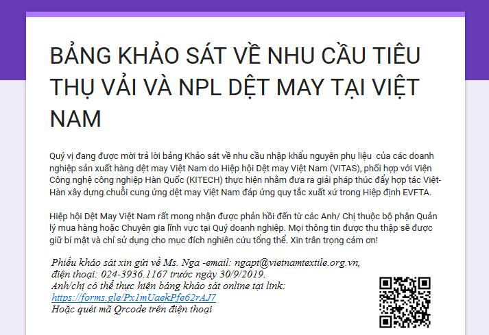 Khảo sát về nhu cầu tiêu thụ vải và nguyên phụ liệu dệt may tại Việt Nam